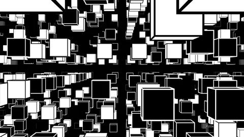 Abstract with black and white squares, simple particles [Loop compatible] Animation