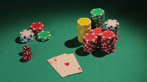Poker player showing pair of aces, good chance to win big bank from rivals Live Action