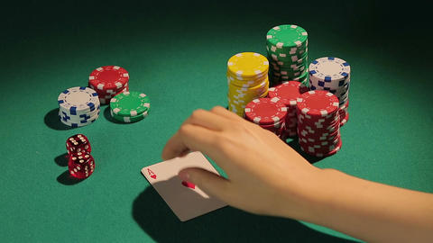 Lucky man has pocket aces, good opportunity to win big money, winner's triumph Footage