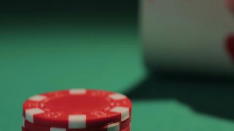 Small pile of poker chips, player has pair of aces, waiting for rival's action Footage