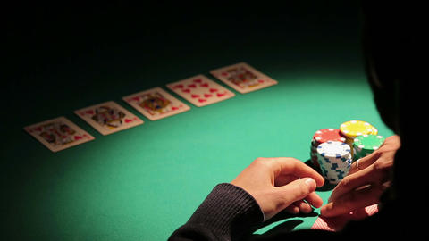 Gambler making all-in bet, taking strategic step to raise bank, win more money Footage