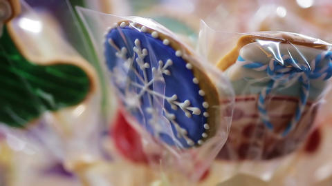 Close-up shot of traditional gingerbread cookies sold at Christmas festival Footage