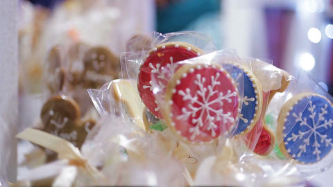 Merry Christmas cookies sold at retail shop, nice holiday presents for friends Footage