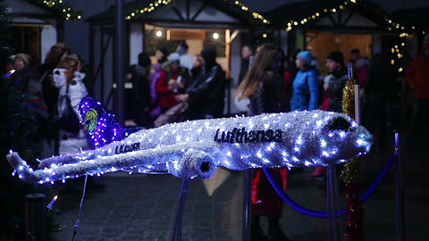 Illuminated art installation at Christmas feast, creative advertising of airline Footage