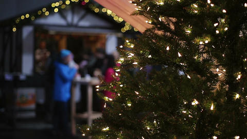 Active atmosphere at Christmas festival, many people enjoying celebrations Footage