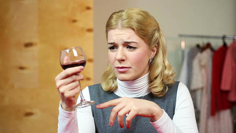 Female alcoholism. Depressed drunk person having bad habit. Alcohol addiction Live Action