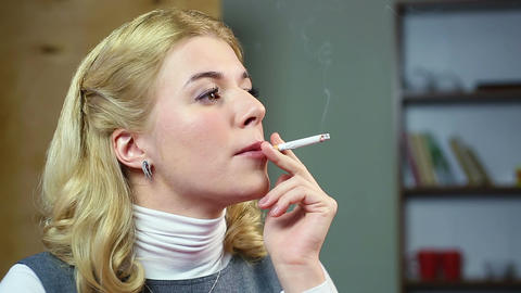 Female thinking about her life and smoking a cigarette. Unhealthy lifestyle Footage