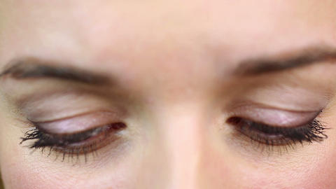 Eyes macro view, emotional female having problems. Sadness and depression Footage