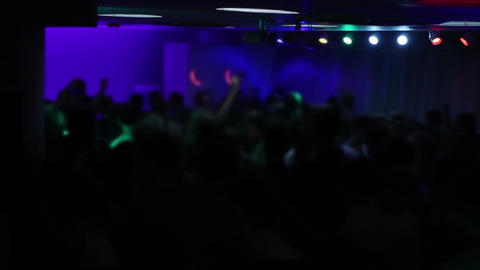 View on happy dancing people raising their hands and enjoying life. Nightclub Footage
