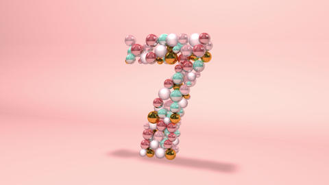 Number 7 seven beads digit beads pearls beads number 7 seven balls alphabet balls pearls number 7 Animation