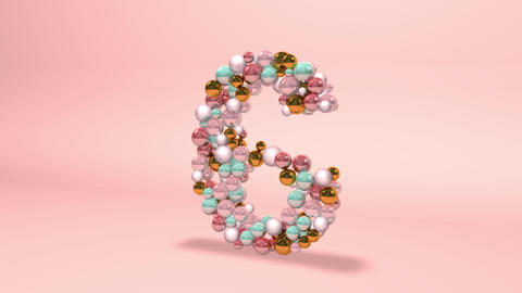 Number 6 six beads digit beads pearls beads number 6 six balls alphabet balls pearls number 6 Animation