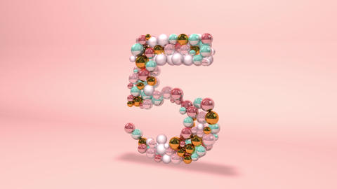 Number 5 five beads digit beads pearls beads number 5 five balls alphabet balls pearls ball number 5 Animation