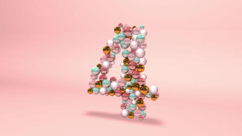 Number 4 four beads digit beads pearls beads number 4 four balls alphabet balls pearls ball number 4 Animation