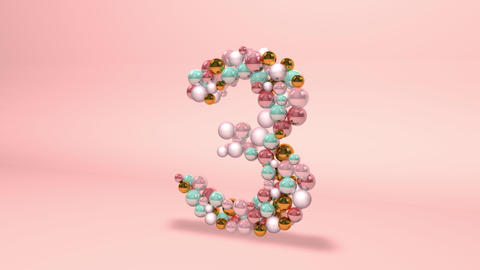 Number 3 three beads digit beads pearls beads number 3 three balls alphabet balls pearls ball number Animation