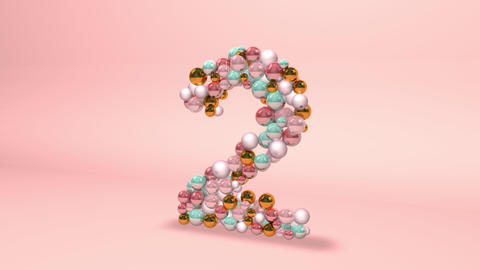 Number 2 two beads digit beads pearls beads number 2 two balls alphabet balls pearls ball number 2 Animation