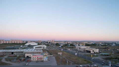 Sunset over the city of Karaganda. Kazakhstan. TimeLapse Footage