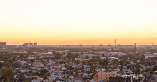 Sunset over the city of Karaganda. Kazakhstan. Panorama. Time Lapse Footage