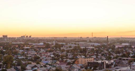 Sunset over the city of Karaganda. Kazakhstan. Zoom. Time Lapse Footage