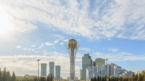 Astana, Baiterek on a background of clouds. Fixed perspective. Kazakstan. Time L Footage