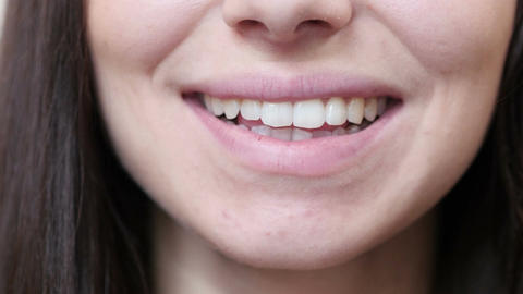 Close Up Of Smiling Woman Lips Footage