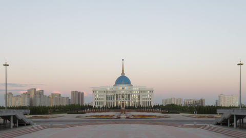 Akorda Presidential Palace at sunset. Zoom. Astana, Kazakhstan. Time Lapse Live Action