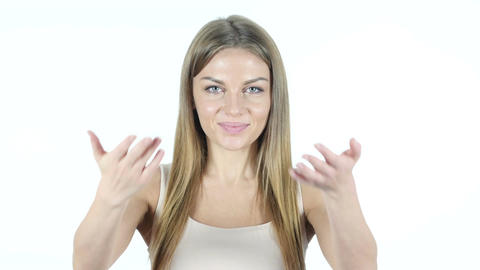 Invitation Gesture by Woman , White Background Live Action