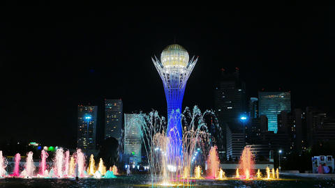 Baiterek - The central point of interest of the new Astana, in the light of nigh Footage