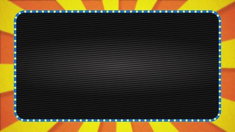 Orange / yellow radiation background animation / light blue illuminated frame / text space Animation
