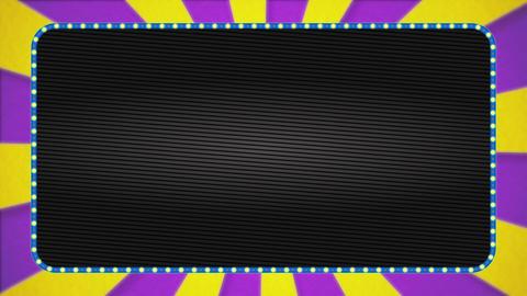 Purple / yellow radiation background animation / light blue illuminated frame / text space Animation
