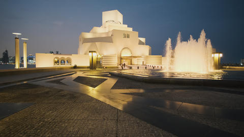 Museum of Islamic Art in Doha Qatar exterior zooming in night shot Live Action