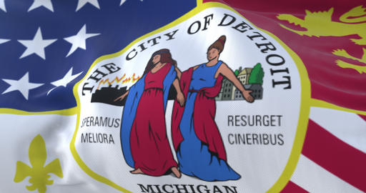 Flag of Detroit city, city of United States of America, slow - loop Animation
