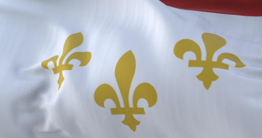 Flag of New Orleans city, city of United States of America, slow - loop Animation