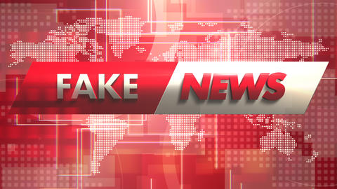 Animation text Fake News and news intro graphic with lines and world map in studio Animation