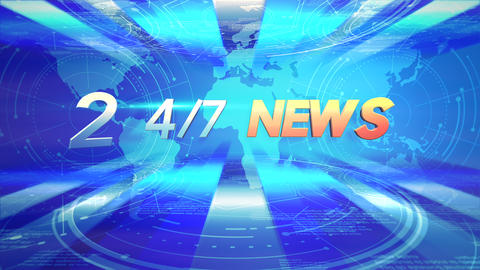 Animation text 24 News and news intro graphic with blue lines and world map in studio Animation