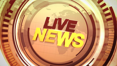 Animation text Live News and news intro graphic with gold lines and circular shapes in studio Animation