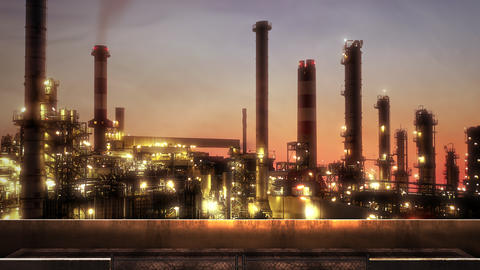 Panorama of city landscape with many big factory pipes in sunset summer day Animation
