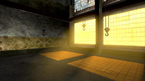 Panorama of empty storage room with big windows and iron hooks for cargo Animation