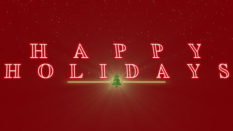 Animated closeup Happy Holidays text with Christmas tree and stars on winter holiday background Animation