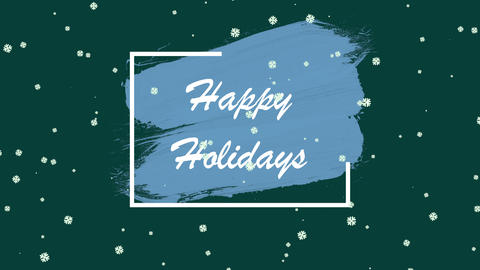 Animated closeup Happy Holidays text and winter landscape with snow on holiday background Animation