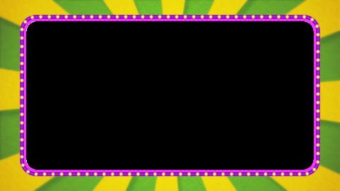 黄緑・黄色の放射線の枠アニメーション・紫の電飾・アルファ付き CG動画