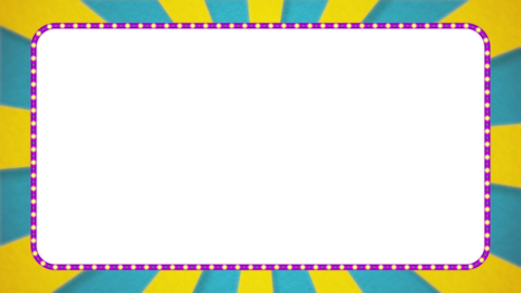 水色・黄色の放射線の枠アニメーション・紫の電飾・アルファ付き CG動画