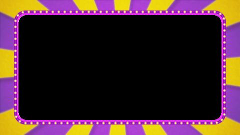 紫・黄色の放射線の枠アニメーション・紫の電飾・アルファ付き CG動画