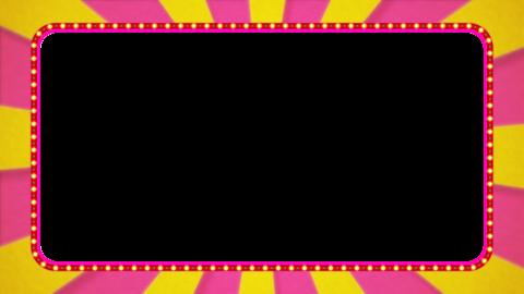 ピンク・黄色の放射線の枠アニメーション・赤の電飾・アルファ付き CG動画