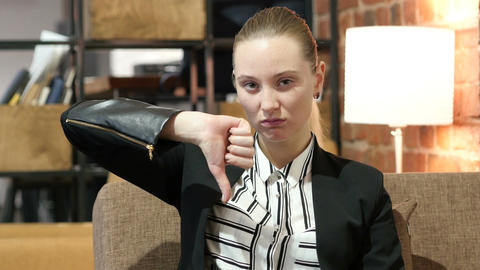 Thumbs Down By Business Woman Footage