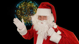 Santa Claus carrying his bag, is looking at the camera, sends a kis and wave, fi Animation