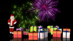 Santa Claus magically piling up gift boxes with holiday fireworks display Animation