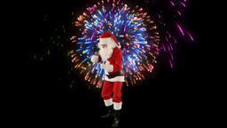 Santa Claus Dancing isolated, Dance 1, fireworks display Stock Video Footage