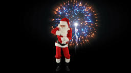 Santa Claus Dancing isolated, Dance 1, fireworks display Animation