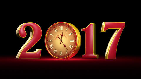 New Year 2017. Christmas. Red and gold figures, midnight. Fabulous clock. 3D ani Animation