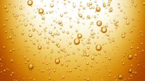Beautiful Beer Bubbles Rising Up. Loopable 3d Animation of Sparkling Water on Ye Animation